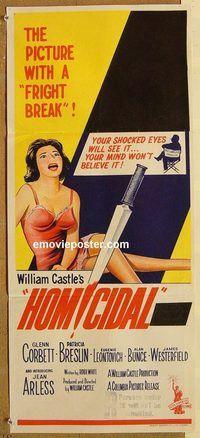 p497 HOMICIDAL Australian daybill movie poster 61 William Castle horror