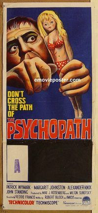 p809 PSYCHOPATH Australian daybill movie poster 66 great horror image