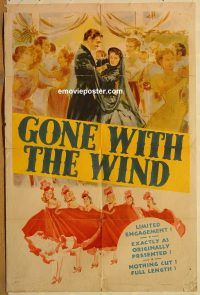 y470 GONE WITH THE WIND one-sheet movie poster '40 Clark Gable, Leigh
