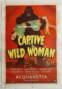 p353 CAPTIVE WILD WOMAN linen one-sheet movie poster '43 Acquanetta & ape!