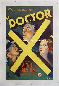 p379 DOCTOR X linen one-sheet movie poster '32 Lionel Atwill, Fay Wray