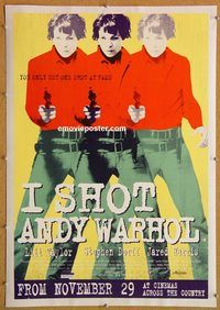 p258 I SHOT ANDY WARHOL linen advance English double crown movie poster '96