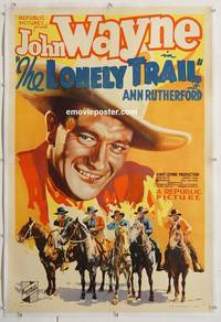 p468 LONELY TRAIL linen one-sheet movie poster '36 best John Wayne image!