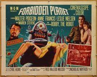 y177b FORBIDDEN PLANET half-sheet movie poster '56 Robby the Robot!