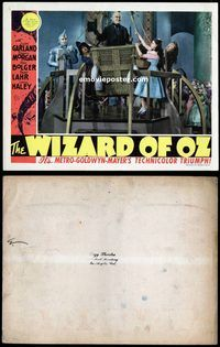 d003 WIZARD OF OZ movie lobby card '39 Dorothy & Wizard in balloon!