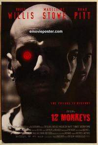 f003 12 MONKEYS DS one-sheet movie poster '95 Bruce Willis, Brad Pitt