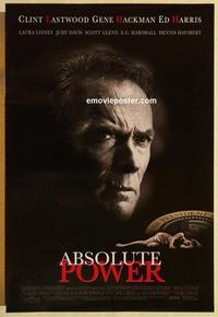 f008 ABSOLUTE POWER one-sheet movie poster '97 Clint Eastwood, Hackman