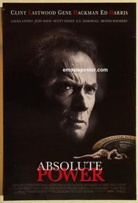 f009 ABSOLUTE POWER DS one-sheet movie poster '97 Clint Eastwood, Hackman