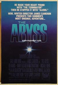 f010 ABYSS one-sheet movie poster '89 James Cameron, Harris, Mastrantonio
