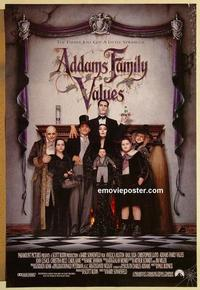 f014 ADDAMS FAMILY VALUES DS one-sheet movie poster '93 Huston, Julia