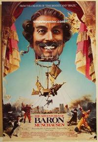 f015 ADVENTURES OF BARON MUNCHAUSEN one-sheet movie poster '89 Gilliam