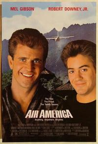 f017 AIR AMERICA DS one-sheet movie poster '90 Mel Gibson, Robert Downey Jr