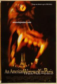 f030 AMERICAN WEREWOLF IN PARIS DS one-sheet movie poster '97 horror!