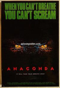 f031 ANACONDA DS one-sheet movie poster '97 Jon Voight, Jennifer Lopez
