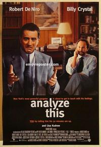 f032 ANALYZE THIS DS one-sheet movie poster '99 DeNiro, Billy Crystal