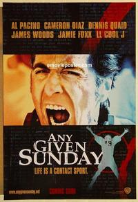 f038 ANY GIVEN SUNDAY teaser one-sheet movie poster '99 Al Pacino, Diaz