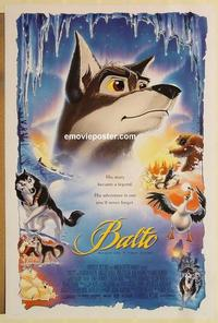 f051 BALTO DS one-sheet movie poster '95 true story adventure cartoon!