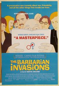 f055 BARBARIAN INVASIONS DS one-sheet movie poster '03 Denys Arcand