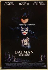 f063 BATMAN RETURNS one-sheet movie poster '92 Michael Keaton, DeVito