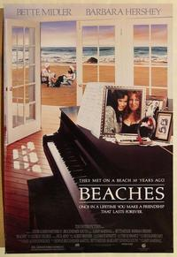 f066 BEACHES DS one-sheet movie poster '88 Bette Midler, Barbara Hershey