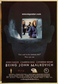 f073 BEING JOHN MALKOVICH DS door style one-sheet movie poster '99 Cusack