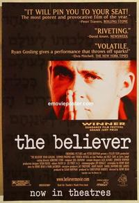 f075 BELIEVER one-sheet movie poster '01 Ryan Gosling, Summer Phoenix