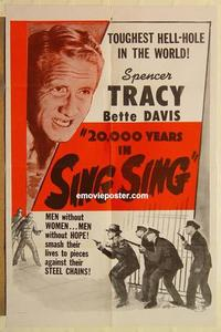k010 20,000 YEARS IN SING SING one-sheet movie poster R56 Spencer Tracy