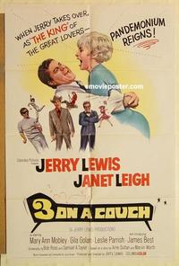 k012 3 ON A COUCH one-sheet movie poster '66 Jerry Lewis, Janet Leigh