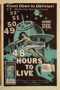 k016 48 HOURS TO LIVE one-sheet movie poster '60 sexy sci-fi image!