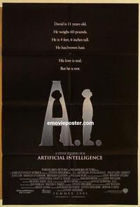 k026 AI DS int'l advance one-sheet movie poster '01 Steven Spielberg, Haley Joel Osment