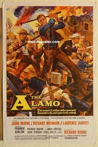 k029 ALAMO one-sheet movie poster '60 John Wayne, Richard Widmark