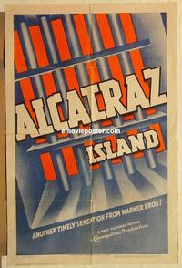 k031 ALCATRAZ ISLAND one-sheet movie poster '37 cool prison bar design!