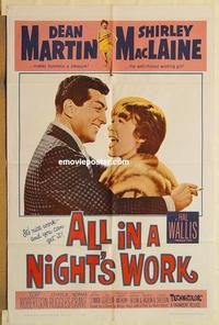 k037 ALL IN A NIGHT'S WORK one-sheet movie poster '61 Dean Martin, MacLaine