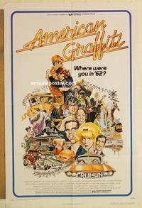 k042 AMERICAN GRAFFITI one-sheet movie poster '73 George Lucas classic!