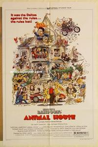 k049 ANIMAL HOUSE style B one-sheet movie poster '78 John Belushi, Landis
