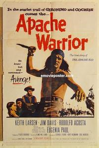 k051 APACHE WARRIOR one-sheet movie poster '57 Larson, Native Americans!