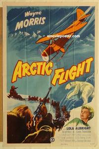 k052 ARCTIC FLIGHT one-sheet movie poster '52 Wayne Morris, North Pole!