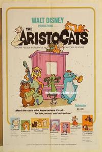k053 ARISTOCATS one-sheet movie poster '71 Walt Disney feline cartoon!