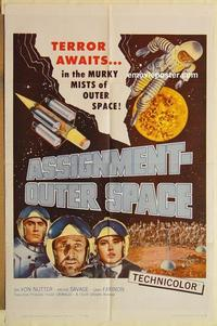 k057 ASSIGNMENT-OUTER SPACE one-sheet movie poster '62 Italian sci-fi!