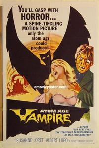 k059 ATOM AGE VAMPIRE one-sheet movie poster '63 man monster!