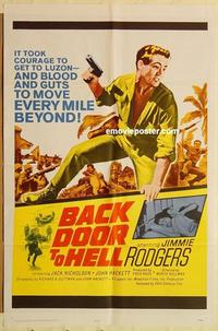 k065 BACK DOOR TO HELL one-sheet movie poster '64 Jack Nicholson, WWII!