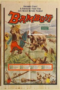 k067 BAMBUTI one-sheet movie poster '59 never seen untamed Africa!