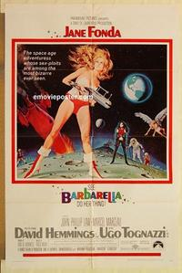 k070 BARBARELLA one-sheet movie poster '68 Jane Fonda, McGinnis art!