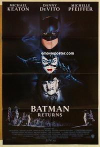 k080 BATMAN RETURNS DS advance one-sheet movie poster '92 Keaton, DeVito