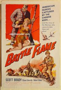 k081 BATTLE FLAME one-sheet movie poster '59 Marines, Scott Brady