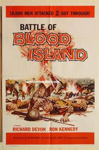 k082 BATTLE OF BLOOD ISLAND one-sheet movie poster '60 great pulpy image!