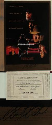 g500 UNFORGIVEN DS signed one-sheet movie poster '92 Clint Eastwood