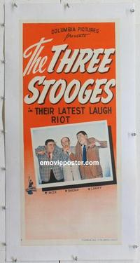 k073 THREE STOOGES linen Aust daybill 50s credit mix-up on poster for Moe Shemp  Larry