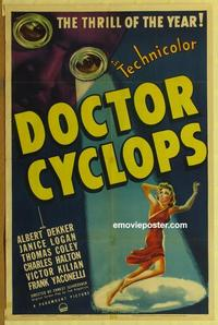 b081 DOCTOR CYCLOPS one-sheet movie poster '40 Albert Dekker, sci-fi!