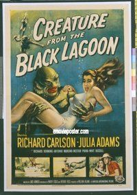 b003 CREATURE FROM THE BLACK LAGOON linen one-sheet movie poster '54 best!